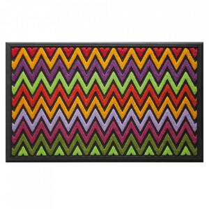 Pres dreptunghiular multicolor din poliamida si cauciuc pentru intrare 45x75 cm Fish Lako