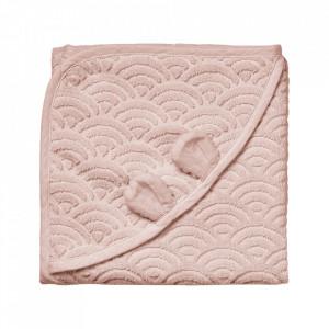 Prosop cu gluga roz din bumbac organic 80x80 cm Baby Dusty Rose Cam Cam