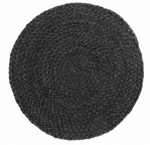 Protectie masa rotunda neagra din iuta 35 cm Placemat Round Nordal