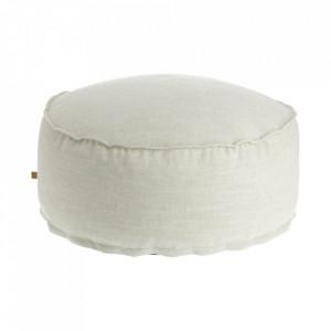 Puf rotund alb din textil 70 cm Maelina Kave Home
