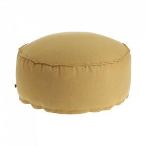 Puf rotund galben din textil 70 cm Maelina Kave Home