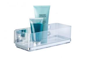 Raft argintiu/transparent din inox si plastic 8,5x25,5 cm pentru baie Vacuum-Loc Shelf Quadro Wenko