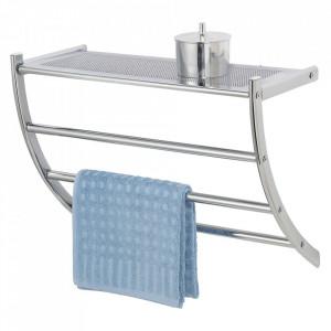 Raft cu suport prosoape argintiu din metal 56 cm Pescara Wenko