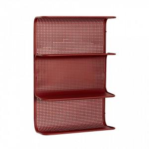 Raft rosu din metal 40 cm pentru perete Wall Shelf Hubsch