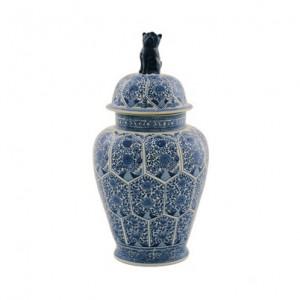 Recipient cu capac alb/albastru din portelan 36x71 cm Ming Van Roon Living