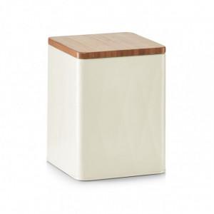 Recipient cu capac crem/maro din metal si lemn 1,5 L Mars Zeller