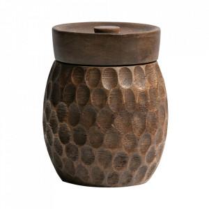 Recipient cu capac maro din lemn de mango Hala Woood