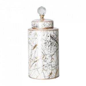 Recipient cu capac multicolor din ceramica 18x40 cm Yuscel Vical Home