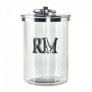 Recipient cu capac transparent/argintiu din sticla si aluminiu 26 cm Alegra Riviera Maison