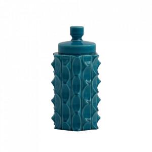 Recipient cu capac turcoaz din ceramica 15x30,5 cm Masai Vical Home