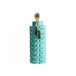 Recipient cu capac turcoaz din ceramica 16x48 cm Bluesea Vical Home