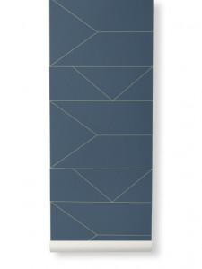 Rola tapet 53x1000 cm Lines albastru Ferm Living