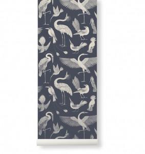 Rola tapet albastru din hartie 53x1000 cm Katie Scott Birds Dark Blue Ferm Living