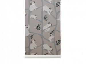 Rola tapet pentru copii 53x1000 cm Koala Grey Ferm Living