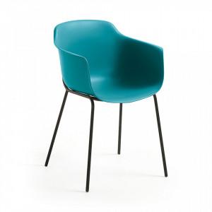 Scaun albastru din plastic cu structura metal negru Khasumi La Forma