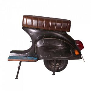 Scaun bar maro/negru din piele si metal Roller Sit Moebel