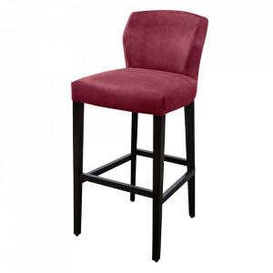 Scaun bar rosu/negru din catifea si lemn de fag Jasy Versmissen