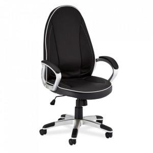 Scaun birou ajustabil negru/alb din poliuretan si plastic Speedy Tora Furnhouse