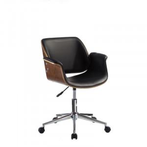 Scaun birou ajustabil negru cu roti din piele si lemn Wheels Ixia