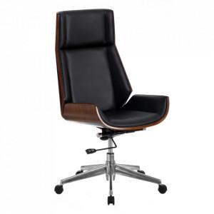 Scaun birou ajustabil negru/maro din fier si poliuretan Sillon Ixia