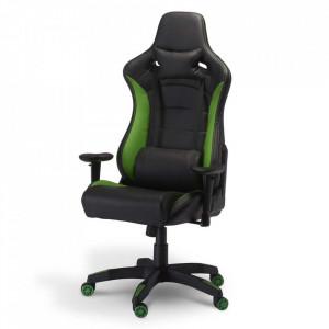 Scaun birou ajustabil negru/verde din poliuretan si plastic De Luxe Furnhouse