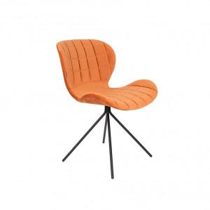 Scaun din catifea portocalie OMG Velvet Orange Zuiver