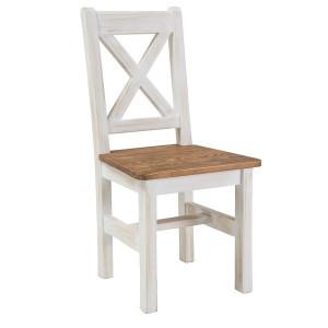Scaun dining alb/maro deschis din lemn de pin Poprad Signal Meble