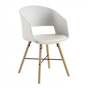 Scaun dining alb/maro din polipropilena si lemn Luna Actona Company