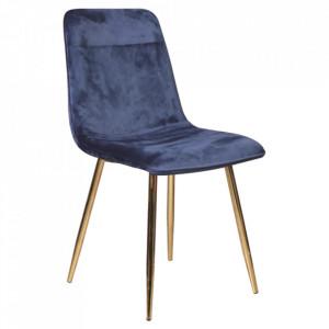 Scaun dining albastru/auriu din catifea si metal Eros Signal Meble
