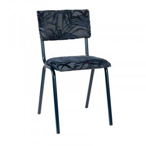 Scaun dining albastru din otel si textil Miami Midnight Blue Zuiver