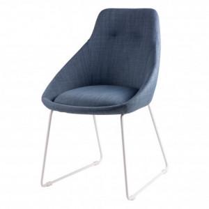 Scaun dining albastru din textil si metal Alba Blue Somcasa