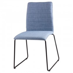Scaun dining albastru din textil si otel Vera Light Blue Somcasa