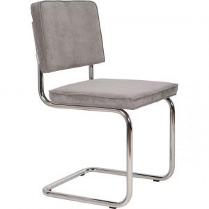 Scaun dining din metal si textil gri Ridge Rib Cool Grey 32A Zuiver
