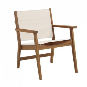 Scaun dining exterior gri/maro din textil si lemn de salcam Hilda Kave Home