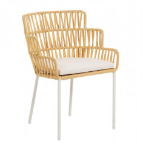 Scaun dining maro/alb din otel si sfoara pentru exterior Robyn La Forma