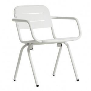 Scaun dining pentru exterior alb din aluminiu Ray Din Woud