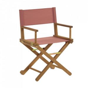 Scaun dining pliabil maro/roz din textil si lemn de salcam Dalisa Kave Home