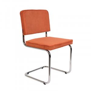 Scaun dining portocaliu/argintiu din metal si textil Ridge Rib Orange Zuiver