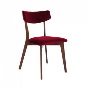 Scaun dining rosu merisor/maro din poliester si lemn Tone Custom Form