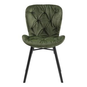 Scaun dining verde padure/negru din textil si metal Batilda Anne Actona Company