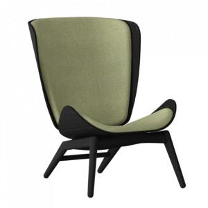 Scaun loungeverde/negru din poliester si lemn The Reader Umage