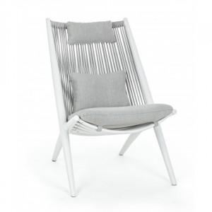 Scaun lounge alb din plastic acrilic si aluminiu pentru exterior Aloha Bizzotto