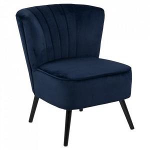 Scaun lounge albastru inchis/negru din poliester si lemn Lark Actona Company