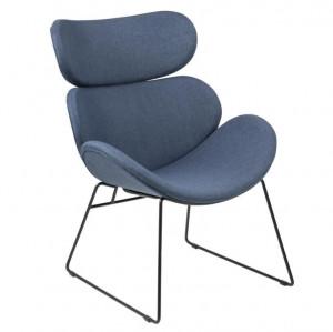 Scaun lounge albastru/negru din poliester si metal Cazar Dark Blue Actona Company