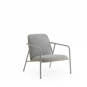 Scaun lounge gri din otel si textil Low Pad Synergy Normann Copenhagen
