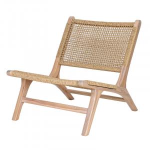 Scaun lounge maro din lemn de tec Norfolk LifeStyle Home Collection