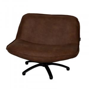 Scaun lounge maro inchis din piele si lemn Forli Mersey LifeStyle Home Collection
