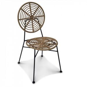 Scaun lounge maro/negru din fier si rasina Jasper Rattan Opjet Paris