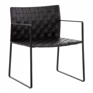 Scaun lounge negru din piele si metal Vente Denzzo