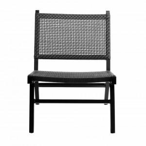 Scaun lounge negru din polietilena si aluminiu Vasai Nordal